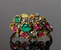 """Bagues anciennes / Baroque / Bague dite """"giardinetti"""" en or, argent et pierres précieuses, du 18e siècle."""