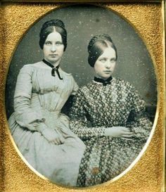 Relaxed and comfortable with each other: things are good between these two sisters. May it always be. 1840s