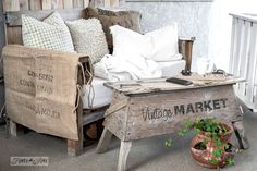 Make an easy pallet wood sawhorse coffee table for the patio, using Funky Junk& Old Sign Stencils& Vintage Market! Funky Home Decor, Home Wall Decor, Vintage Home Decor, Cheap Home Decor, Funky Junk Interiors, Home Decor Catalogs, Home Decor Store, Porches, Wooden Pallet Crafts