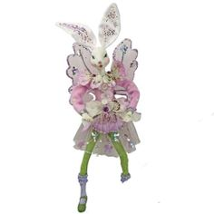 NEW KIRKS FOLLY PURPLE PANSY BUNNY FAIRY ORNAMENT