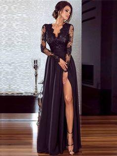 Schwarz Spitze Maxi Kleid Mit Schlitz