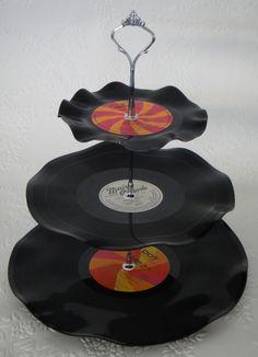 Record Cup Cake Stand 3 Tier Retro Rockabilly Wedding by myEroom, $29.00 rockabilly-punk-music-old-school