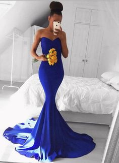 Sweetheart Prom Dress,Mermaid Prom Dress,Royal Blue Prom Dress,Sexy Sweep Train Evening Dresses