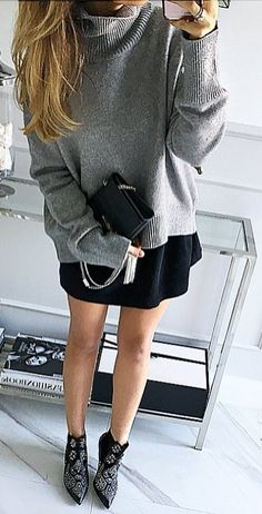 #fall #style  Grey Oversized Sweater // Black Skirt // Studded Ankle Boots