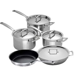 Le Creuset 3 Ply Stainless Steel 5 Piece Set (16,18,20,24 Fry,24 Shal) at eCookshop
