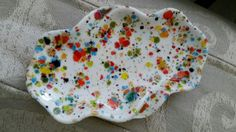 Vtg Ceramic Retro 1971 Small Pretty Splatter Speckled Ashtray Trinket Dish White