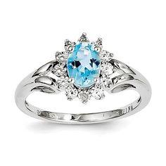 Sterling Silver Diamond & Light Blue Topaz Ring, Women's, Size: 7