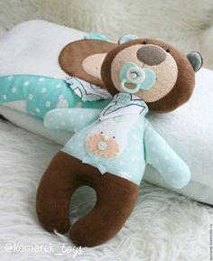 Купить Плед и мишка. - мятный, рисунок, белый, коричневый, плед для новорожденного, плед, мишка, для новорожденных