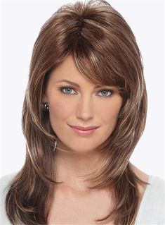 Side Fringe Layered Cut Straight Human Hair Capless Women Wigs with Bang Haircut Styles For Women, Short Haircut Styles, Bob Hairstyles, Straight Hairstyles, Medium Hair Styles, Long Hair Styles, Monofilament Wigs, Wigs With Bangs, Long Hair Cuts