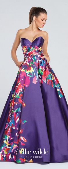 Prom Dresses 2017 - Ellie Wilde for Mon Cheri - Strapless Purple Floral Prom Dress with Full Skirt and Pockets - Style No. EW117003
