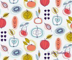 Fruit Salad 1 Surface Pattern Designer Jane Farnham - reminiscent of the Swedish design