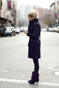 love the navy coat and booties