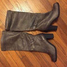 Ann Taylor Loft Boots 🎉 Flash Sale! 🎉Tall boots with heel. Has a half zip on the side. Brownish/gray color. Has some marks which is why they are discounted so low. The marks are not visible when worn! LOFT Shoes Heeled Boots