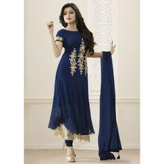 42694b370f92 Drashti Dhami Georgette Blue Embroidered Semi Stitched Churidar Suit -  FB5631