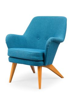 Upholstered seat and back in blue fabric covering, legs varnished birch. Blue Fabric, Accent Chairs, Haku, Armchair, Furniture, Google, Home Decor, Upholstered Chairs, Sofa Chair