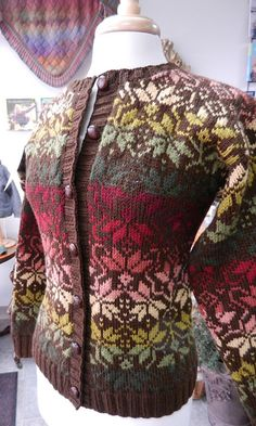 So gorgeous!  Prairie Earth & Sky Cardigan, from Fearless Fair Isle by Kathleen Taylor, knit by my BFF Celeste Young.