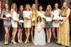 Super chic mismatched bridesmaids dresses