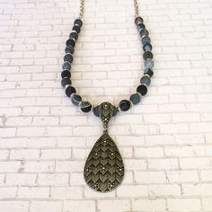 Antique Silver Pendant Necklace Teardrop by BarbsBeadedJewelry
