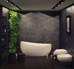 revêtement mural salle de bain en enduit déco à motifs floraux