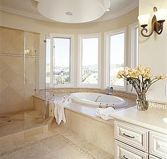 Bathroom with a bay window.