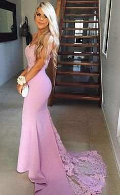 Sexy Mermaid Prom Dress,Pink Prom/Evening Dress,Lace Party Dress with Sweep Train,Sweetheart Evening Dress