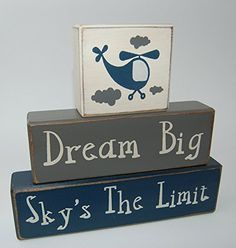 Primitive Country Wood Stacking Sign Blocks Airplane-Helicopter Decor-Dream Big Sky's The Limit Boys Nursery Room, Birthday Centerpiece, Baby Shower Gift
