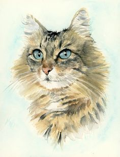 Custom cat portrait. Cat lover gift. Cat painting. Illustration cat. Watercolor cat. Cat art