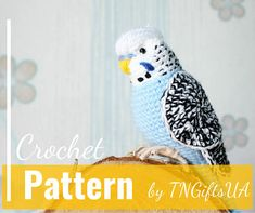 Crochet budgie pattern Tutorial PDF Amigurumi lovebird Cockatiel stuffed animal Crochet Decor Blue bird with flexible paws uniqe home decor