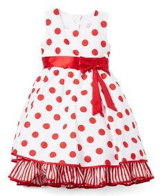 Red & White Dot Ruffle-Hem A-Line Dress - Infant, Toddler & Girls