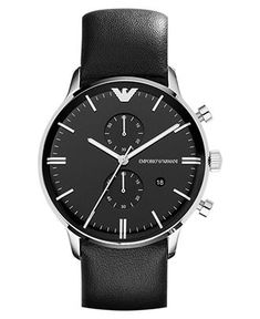 Emporio Armani Watch, Men's Chronograph Black Leather Strap 43mm AR0397 - Men's Watches - Jewelry  Watches - Macy's