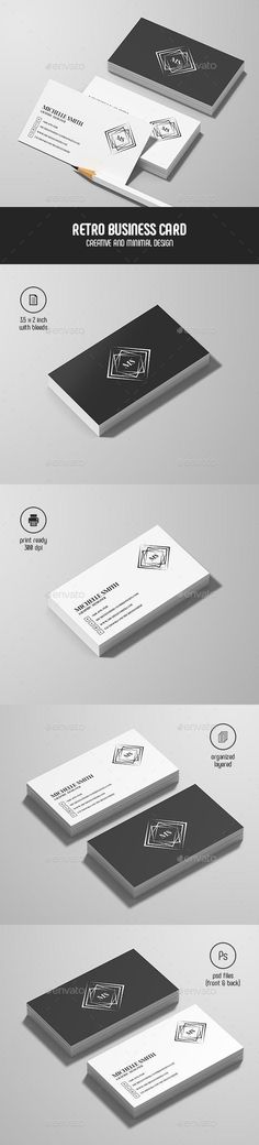 Buy Vintage Personal Business Card by be-cool on GraphicRiver. Features: CMYK colors 300 DPI Layered PSD files Customizable and Editable inches with bleeds + Trim . Print Templates, Card Templates, Business Plan Template Word, Business Templates, Vintage Business Cards, Vintage Graphic Design, Retro Design, Design Set, Business Card Design
