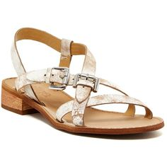Latigo Risha Flat Sandal (305 CNY) ❤ liked on Polyvore featuring shoes, sandals, white crckl, open toe flat shoes, open toe shoes, strappy flat shoes, strap sandals and white sandals