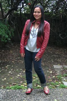 Mrs. LookingGood Red Moto Jacket Skinny Jeans Silver Silk Top Red Flats Grey Bead Necklace