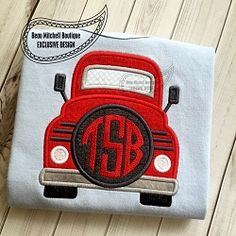 Truck Front Monogram Applique - 4 Sizes!   What's New   Machine Embroidery Designs   SWAKembroidery.com Beau Mitchell Boutique