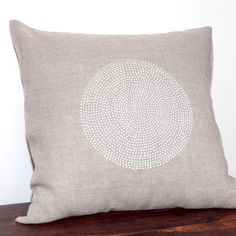Hand Printed  Cushion with white points  on natural grey linen fabric - hand printed pillow cushion cover, home decor, bedroom pillow