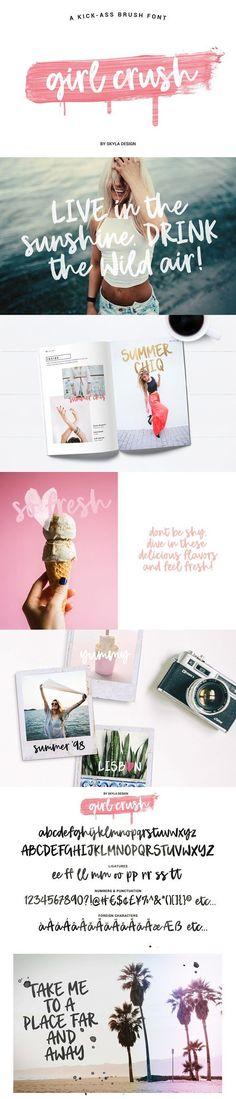 NEW! Bold brush font, Girl Crush by Skyla Design on @creativemarket