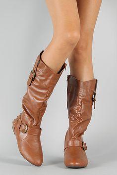 Janice-1 Buckle Studded Riding Knee High Boot $38.20