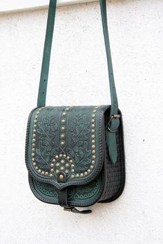emerald green black tooled leather bag - shoulder bag - crossbody bag - handbag - ethnic bag - messenger bag - for women - capacious