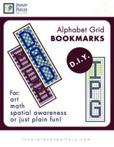 students use the included grid letters of the alphabet to copy their initials onto a inch approximate gridded bookmark template