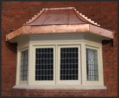 bay windows Copper Awning, Copper Roof, Metal Roof, Bay Windows, Windows And Doors, Window Boxes, Window Seats, Copper House, House Trim