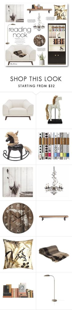 """""""Curl Up: Reading Nook"""" by jelenalazarevicpo ❤ liked on Polyvore featuring interior, interiors, interior design, home, home decor, interior decorating, Nuevo, Nook, NOVICA and Graham & Brown"""