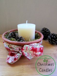 DIY Christmas Woodland Candles
