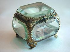 Victorian glass jewellery box