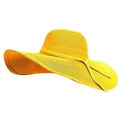 Yellow Shapeable Wire Brim Beach Floppy Hat featuring polyvore, women's fashion, accessories, hats, yellow, braid crown, floppy brim hat, brimmed hat, yellow hat and floppy beach hat