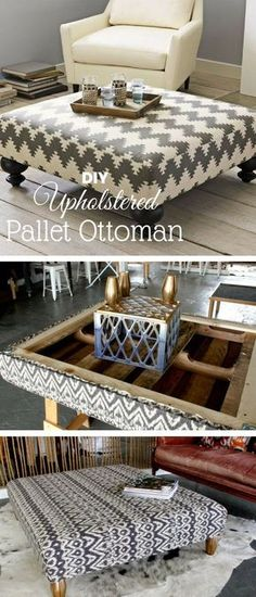 Check out this easy idea on how to make an easy #DIY upholstered #pallet ottoman for living room #homedecor on a #budget #crafts @istandarddesign #shabbychicbedroomsonabudget