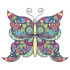 butterfly background: Vector illustration of abstract colorful butterfly on white background Illustration