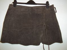 """STUNNING JANE NORMAN BROWN LEATHER SCALLOP & LACE SHORT SKIRT SIZE 14 14.5"""" LONG"""