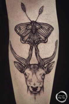 Ka ta tattoo - deer & moth #ink #tattoo