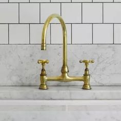 From Barber Wilson in the UK, Deck-Mounted Faucet with Gooseneck Spout : Remodelista Brass Kitchen Faucet, Kitchen Fixtures, Plumbing Fixtures, Gold Faucet, Kitchen Hardware, Gold Taps, Brass Bathroom, Bathroom Fixtures, Loft Bathroom