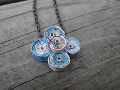 Upcycled Flower Paper Bead Necklace